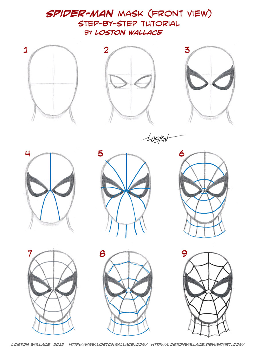 How to draw spiderman mask